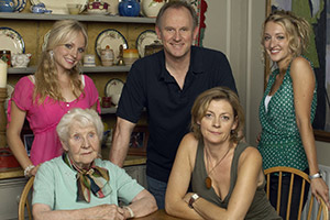 Fear, Stress And Anger. Image shows from L to R: Chloe (Georgia Tennant), Gran (Eileen Essell), Martin (Peter Davison), Julie (Pippa Haywood), Lucy (Daisy Aitkens).