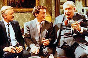 Ffizz. Image shows from L to R: Hugo Walker (Benjamin Whitrow), Alan (Robin Kermode), Jack Mowbray (Richard Griffiths). Copyright: Thames Television.