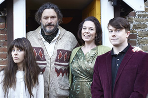 Flowers. Image shows from L to R: Amy (Sophia Di Martino), Maurice (Julian Barratt), Deborah (Olivia Colman), Donald (Daniel Rigby). Copyright: Kudos Productions.