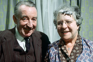For The Love Of Ada. Image shows from L to R: Walter Bingley (Wilfred Pickles), Ada Cresswell/Bingley (Irene Handl).