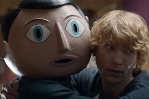 Frank. Image shows from L to R: Frank Sidebottom (Michael Fassbender), Jon Burroughs (Domhnall Gleeson). Copyright: Film4.