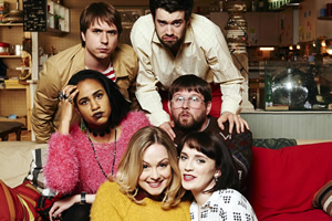 Fresh Meat. Image shows from L to R: Kingsley (Joe Thomas), Vod (Zawe Ashton), Josie (Kimberley Nixon), JP (Jack Whitehall), Howard (Greg McHugh), Oregon (Charlotte Ritchie). Copyright: Objective Productions / Lime Pictures.