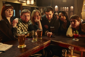 Fresh Meat. Image shows from L to R: Oregon (Charlotte Ritchie), Howard (Greg McHugh), Josie (Kimberley Nixon), JP (Jack Whitehall), Vod (Zawe Ashton), Kingsley (Joe Thomas). Copyright: Objective Productions / Lime Pictures.