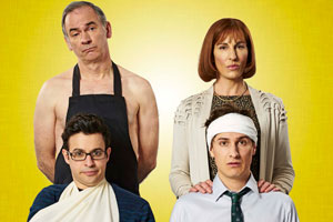 Friday Night Dinner. Image shows from L to R: Jonny (Tom Rosenthal), Adam (Simon Bird), Jackie (Tamsin Greig), Jonny (Tom Rosenthal). Copyright: Popper Pictures / Big Talk Productions.
