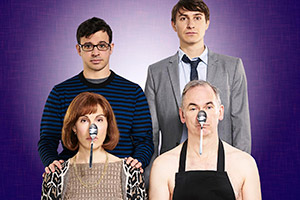Friday Night Dinner. Image shows from L to R: Jackie (Tamsin Greig), Adam (Simon Bird), Jonny (Tom Rosenthal), Martin (Paul Ritter).