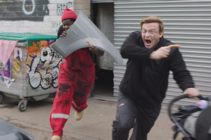 Furious Andrew. Image shows from L to R: Prince (Hammed Animashaun), Andy Stone (Rhys Darby). Copyright: Kudos Productions.
