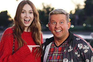Gary Goes To Hollywood. Image shows from L to R: Karen Gillan, Gary McLintoch (Greg McHugh). Copyright: Objective Productions.
