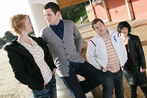 Gavin & Stacey. Image shows from L to R: Stacey (Joanna Page), Gavin (Mathew Horne), Smithy (James Corden), Nessa (Ruth Jones). Copyright: Baby Cow Productions.