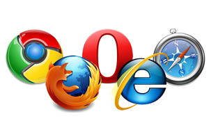 Generic picture of web browser logos.