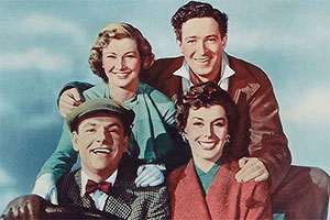 Genevieve. Image shows from L to R: Ambrose Claverhouse (Kenneth More), Wendy McKim (Dinah Sheridan), Alan McKim (John Gregson), Rosalind Peters (Kay Kendall). Copyright: ITV Studios.