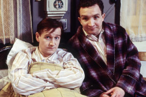 Get Well Soon. Image shows from L to R: Roy Osborne (Matthew Cottle), Brian Clapton (Eddie Marsan). Copyright: BBC.