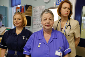Getting On. Image shows from L to R: Sister Den Flixter (Joanna Scanlan), Nurse Kim Wilde (Jo Brand), Doctor Pippa Moore (Vicki Pepperdine). Copyright: Vera Productions.