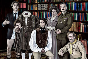Ghosts. Image shows from L to R: Julian (Simon Farnaby), Humphrey's Head (Laurence Rickard), Thomas Thorne (Mathew Baynton), Fanny (Martha Howe-Douglas), Captain (Ben Willbond), Pat (Jim Howick). Copyright: Monumental Pictures.