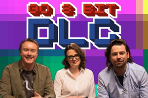 Go 8 Bit DLC. Image shows from L to R: Steve McNeil, Ellie Gibson, Sam Pamphilon. Copyright: DLT Entertainment Ltd..