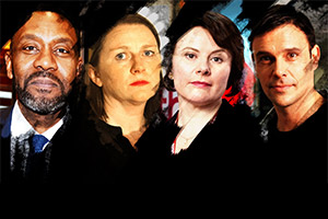 God Of Carnage. Image shows from L to R: Michael (Lenny Henry), Veronica (Rosie Cavaliero), Annette (Monica Dolan), Alan (Joseph Millson). Copyright: Catherine Bailey Productions Limited.