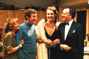 The Good Life. Image shows from L to R: Barbara Good (Felicity Kendal), Tom Good (Richard Briers), Margo Leadbetter (Penelope Keith), Jerry Leadbetter (Paul Eddington). Copyright: BBC.