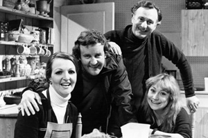 The Good Life. Image shows from L to R: Margo Leadbetter (Penelope Keith), Tom Good (Richard Briers), Jerry Leadbetter (Paul Eddington), Barbara Good (Felicity Kendal). Copyright: BBC.
