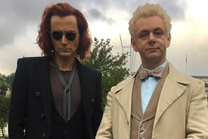 Good Omens. Image shows from L to R: Crowley (David Tennant), Aziraphale (Michael Sheen).