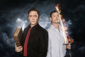 Good Omens. Image shows from L to R: Crowley (Peter Serafinowicz), Aziraphale (Mark Heap). Copyright: BBC.
