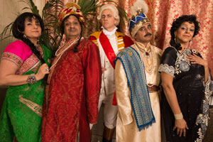 Goodness Gracious Me. Image shows from L to R: Nina Wadia, Kulvinder Ghir, Dave Lamb, Sanjeev Bhaskar, Meera Syal. Copyright: BBC.