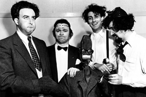 The Goon Show. Image shows from L to R: Hercules Grytpype-Thynne (Peter Sellers), Neddie Seagoon (Harry Secombe), Count Jim Moriarty (Spike Milligan), Professor Osric Pureheart (Michael Bentine).