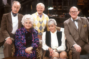 Grace & Favour. Image shows from L to R: Captain Stephen Peacock (Frank Thornton), Mrs. Betty Slocombe (Mollie Sugden), Mr. Wilberforce Clayborne Humphries (John Inman), Miss Shirley Brahms (Wendy Richard), Mr. Cuthbert Rumbold (Nicholas Smith). Copyright: BBC.
