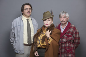 Grandpa's Great Escape. Image shows from L to R: Barry (David Walliams), Miss Dandy (Jennifer Saunders), Grandpa (Tom Courtenay). Copyright: King Bert Productions.