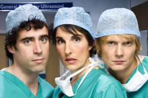 Green Wing. Image shows from L to R: Guy Secretan (Stephen Mangan), Caroline Todd (Tamsin Greig), Mac Macartney (Julian Rhind-Tutt). Copyright: Talkback Productions.