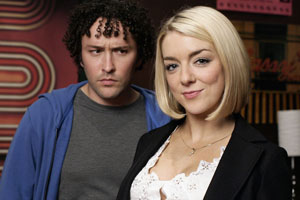 Grownups. Image shows from L to R: Chris (Richard Mylan), Michelle (Sheridan Smith). Copyright: BBC.