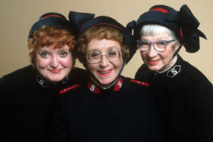 Hallelujah!. Image shows from L to R: Sister Alice Meredith (Patsy Rowlands), Captain Emily Ridley (Thora Hird), Sister Dorothy Smith (Rosamund Greenwood).