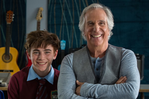 Hank Zipzer. Image shows from L to R: Hank Zipzer (Nick James), Mr Rock (Henry Winkler).