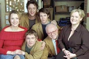Hardware. Image shows from L to R: Anne (Susan Earl), Kenny (Peter Serafinowicz), Mike (Martin Freeman), Steve (Ryan Cartwright), Rex (Ken Morley), Julie (Ella Kenion). Copyright: TalkbackThames.