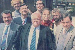 Hardwicke House. Image shows from L to R: Mr. Flashman (Gavin Richards), Moose Magnusson (Duncan Preston), Mr. Mackintosh (Roger Sloman), Mr. Wickham (Roy Kinnear), Mr. Fowl (Granville Saxton), Ms. Crabbe (Pam Ferris), Mr. Savage (Tony Haygarth), Peter Philpott (Nick Wilton). Copyright: Central Independent Television.