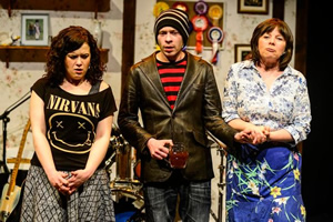 The Harri-Parris' Radio Show. Image shows from L to R: Anni (Llinos Mai), Ben (Oliver Wood), Mami (Rhian Morgan). Copyright: BBC.