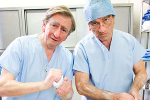 Harry & Paul. Image shows from L to R: Paul Whitehouse, Harry Enfield. Copyright: Tiger Aspect Productions.