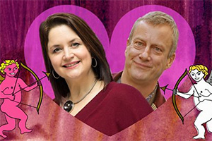 Hashtag Love. Image shows from L to R: Ruth Jones, Stephen Tompkinson. Copyright: BBC.