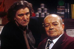 Heartburn Hotel. Image shows from L to R: Duggie Strachan (Clive Russell), Harry Springer (Tim Healy). Copyright: BBC.