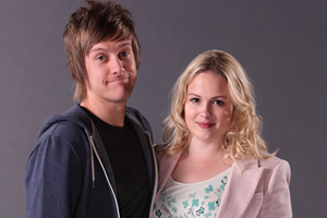 Hebburn. Image shows from L to R: Jack Pearson (Chris Ramsey), Sarah Pearson (Kimberley Nixon).