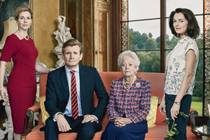 Henry IX. Image shows from L to R: Queen Katerina (Sally Phillips), King Henry (Charles Edwards), Queen Charlotte (Annette Crosbie), Serena (Kara Tointon).