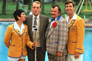 Hi-De-Hi!. Image shows from L to R: Gladys Pugh (Ruth Madoc), Jeffrey Fairbrother (Simon Cadell), Ted Bovis (Paul Shane), Spike Dixon (Jeffrey Holland). Copyright: BBC.