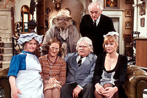 His Lordship Entertains. Image shows from L to R: Cook (Mary Baxter), Mildred Bates (Josephine Tewson), Dithers (David Jason), Lord Rustless (Ronnie Barker), Badger (Frank Gatliff), Effie (Moira Foot). Copyright: BBC.