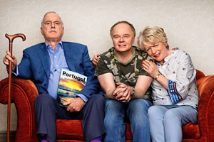 Hold The Sunset. Image shows from L to R: Phil (John Cleese), Roger (Jason Watkins), Edith (Alison Steadman).