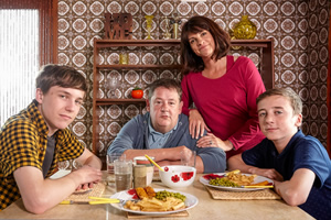 Home From Home. Image shows from L to R: Garth Hackett (Oscar Kennedy), Neil Hackett (Johnny Vegas), Fiona Hackett (Niky Wardley), Little Neil Hackett (Harvey Chaisty). Copyright: BBC.
