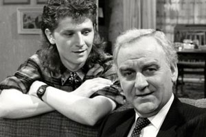 Home To Roost. Image shows from L to R: Matthew Willows (Reece Dinsdale), Henry Willows (John Thaw). Copyright: Yorkshire Television.