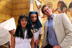 Horrible Histories. Image shows from L to R: Gemma Whelan, Ryan Sampson, Tom Stourton.