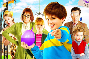 Horrid Henry: The Movie. Image shows from L to R: Prissy Polly (Kimberley Walsh), Miss Battle-Axe (Anjelica Huston), Moody Margaret (Scarlet Stitt), Horrid Henry (Theo Stevenson), Vic Van Wrinkle (Richard E. Grant), Perfect Peter (Ross Marron).