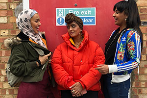 Hounslow Diaries. Image shows from L to R: Shaheeda (Ambreen Razia), Tash (Mandeep Dhillon), Leonie (Robyn Cara). Copyright: CPL Productions.