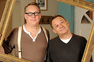 House Of Fools. Image shows from L to R: Vic (Vic Reeves), Bob (Bob Mortimer). Copyright: BBC / Pett Productions.