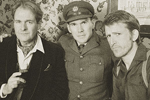 Hut 33. Image shows from L to R: Charles (Robert Bathurst), Joshua Fanshawe-Marshall (Alex Macqueen), Archie (Tom Goodman-Hill). Copyright: BBC.