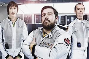 Hyperdrive. Image shows from L to R: Diplomatic Officer Teal (Miranda Hart), Commander Henderson (Nick Frost), First Officer York (Kevin Eldon). Copyright: BBC.